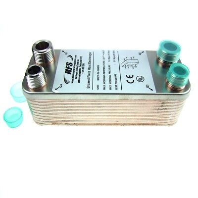 """HFS(R) 7.5"""" X 2.9"""" 20 Plate Beer Wort Chiller - Homebrew NPT Fittings"""