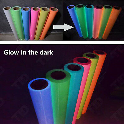 Heat Transfer Vinyl Roll Glow in the Dark Glossy HTV Vinyl for T-Shirts 7 Colors