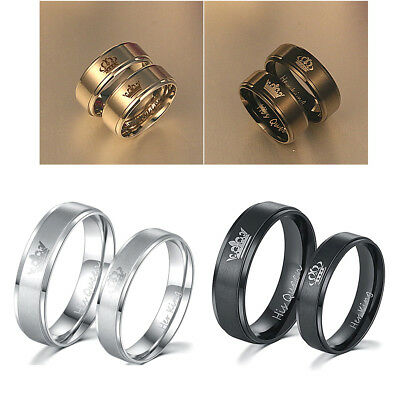 HIS QUEEN HER KING Stainless Steel Wedding Engagement Ring Jewelry Lover Gift UK