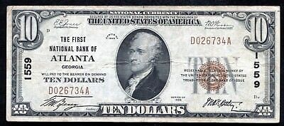 1929 $10 The First National Bank Of Atlanta, Ga National Currency Ch. #1559