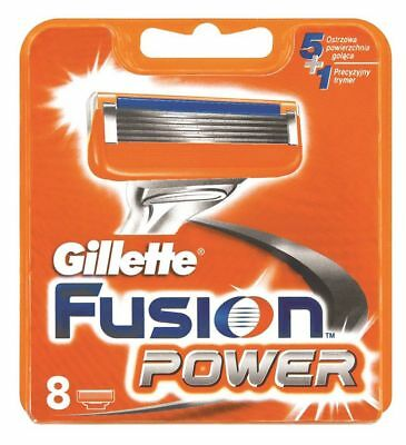 Gillette Fusion Power Replacement Razor Cartridges 8 Packs Of Blades Genuine