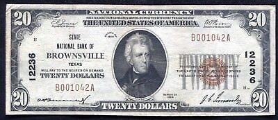 1929 $20 State National Bank Of Brownsville, Tx National Currency Ch. #12236