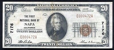 1929 $20 The First National Bank Of Napa, Ca National Currency Ch. #7176 Xf