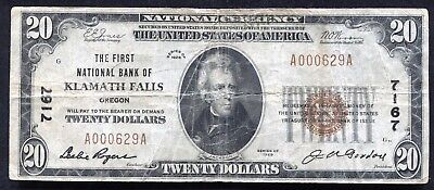 1929 $20 The First Nb Of Klamath Falls, Or National Currency Ch. #7167