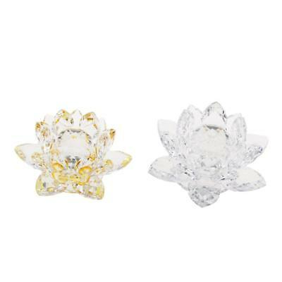Crystal Lotus Flower Crafts Paperweight Glass Feng Shui Decor Clear & Yellow