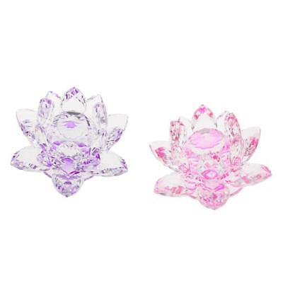 2x Crystal Lotus Flowers Crafts Buddhist Feng Shui Ornaments Purple & Pink