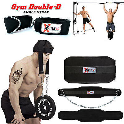 Pro Dipping Belt Body Building Weight Lifting Dip Chain Head Harness Gym Fitness