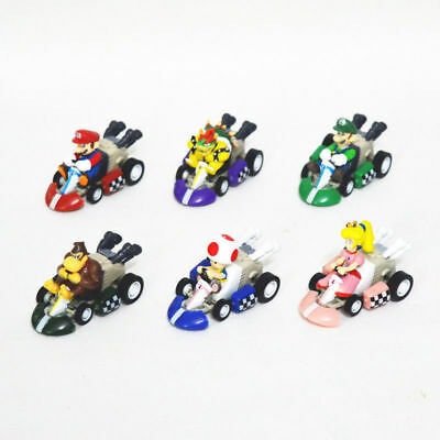 6pc Super Mario MarioKart Wii Luigi Diecast Kart Action Figure Figurines Set Toy