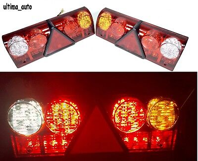 2X Universal 6 Function Led Rear Tail Trailer 24V Lights Lamps Truck Lorry