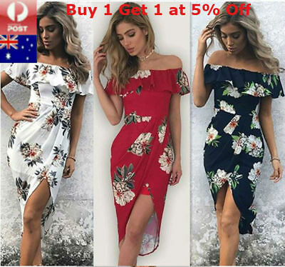 Women Boho Maxi Dress Beach Floral Long Sundress Summer Evening Party Cocktail