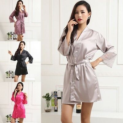 Women Multi-Color Satin Silk Lace Sleepwear Robe Pyjama Night Gown Nightdress