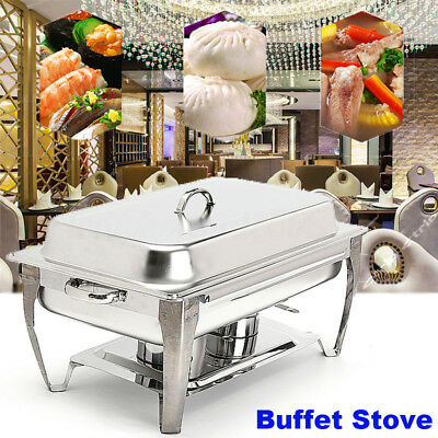 3-Station Buffet Chafing Dish Catering Warming Tray 8.5 Quart Stainless Steel US