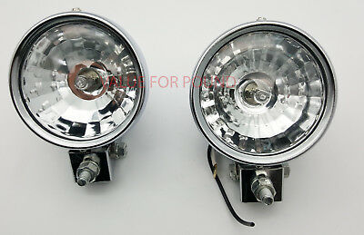 Universal Halogen Clear White Passing Spot Light Motorcycle Motorbike 1 Pair