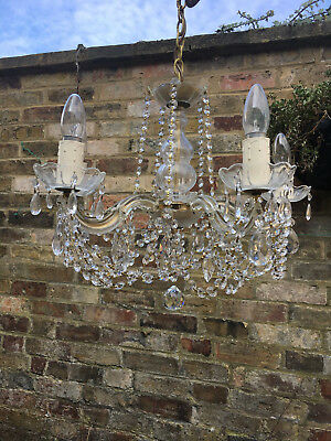 Glittering French Vintage Lead Crystal Five Light Glass Clad Chandelier