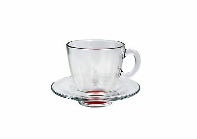 Bialetti set of 6 Blown Glass Cappuccino Cups and Saucer Set Red 6 cups and 6 sa