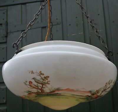 Large Old Nicely Decorated With Birds Etc Glass Light Shade And Fittings