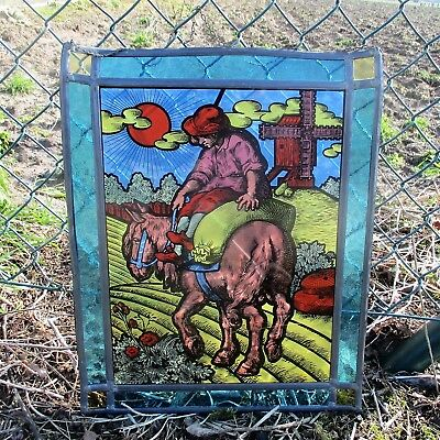 Antique Vintage Stained Leaded Glass Art Panel  Farmer On Donkey Windmill