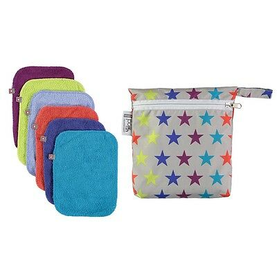 Close parent pop in washable baby wipes - 10 wipes- bright colours plus zip bag!