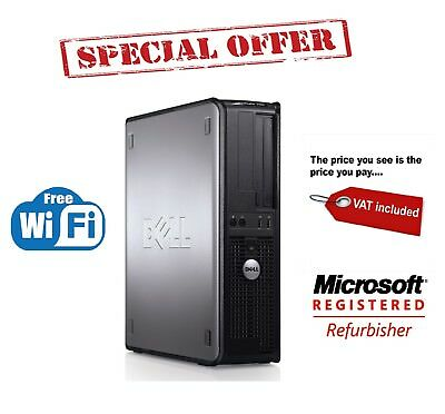 Fast Dell Quad Core Pc Computer Desktop Tower Windows 10 Wi-Fi 8Gb Ram 2Tb Hdd