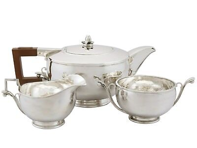 Antique George V Sterling Silver Three Piece Tea Service Birmingham 1930s