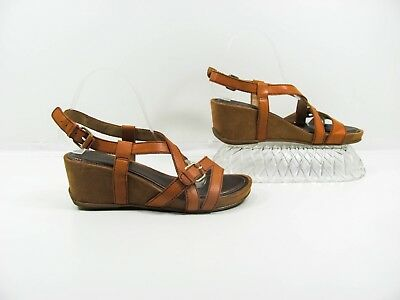 14291bfe8f46 Naturalizer N5 Comfort Paco Women Brown Wedge Heels Sandal Shoe Size 8M Pre  Ownd