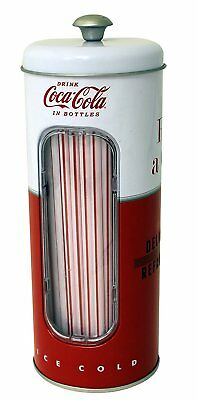 Coke Coca Cola Tin Straw Holder Container w/ 50 Straws!