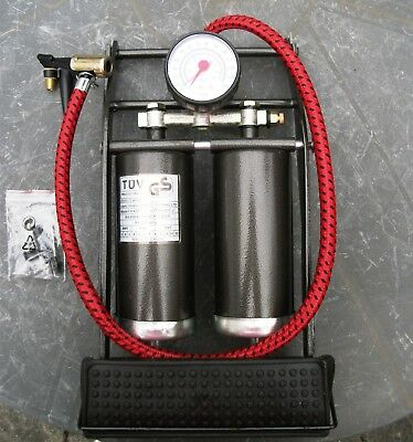 Double cylinder high performance foot pump with pressure gauge