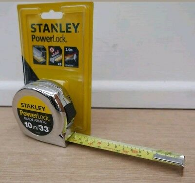 Stanley Powerlock 10M 33' Tape Measure + 2.4M Stand Out 0 33 531