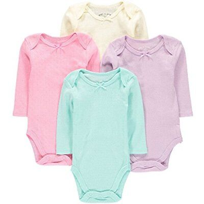 Wan-A-Beez 4 Pack Baby Girls' and Boys' Long Sleeve Bodysuits 6-9 Months Poin...