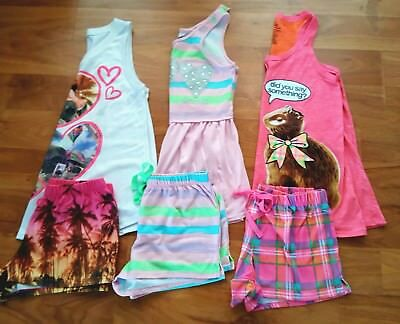 Girls 6 PC Short Pajama Lot by JUSTICE--Size 10