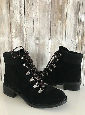 12ce9a19806c Sam Edelman Darrah Lace-Up Combat Hiking Boots Booties Black Gray Suede 7.5