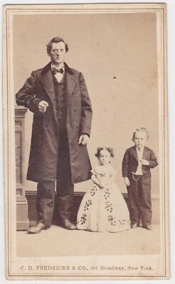 CDV Commodore Foote & The Fairy Queen 1860s by CE Fredericks NYC Tax Stamped
