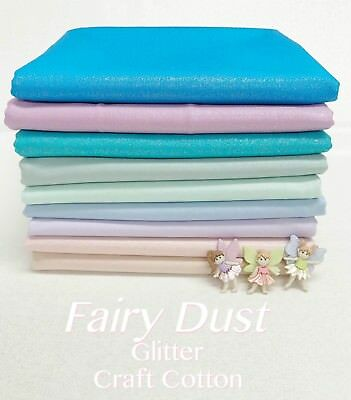 Fairy Dust GLITTER COTTON Plain Solid Metallic Sparkle Patchwork Craft Fabric