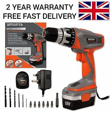 18V Cordless Combi Power Diy Drill Driver Electric Power Screwdriver 13Pc