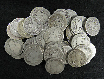 40 Silver Coin Full Roll Average Circulated Barber Quarters