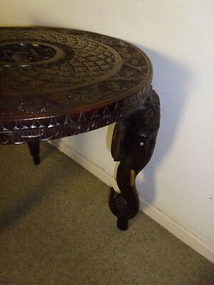 Antique Mid Cen INDIAN Carved Elephant Round Table Teak or Rosewood LE12 or POST