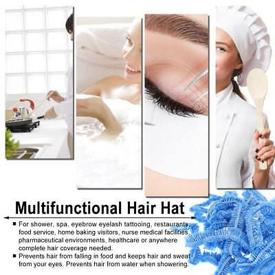 100x Disposable Head Cover Cap Hat Hair Elastic Plastic Anti Dust Hats SPA W9Z9