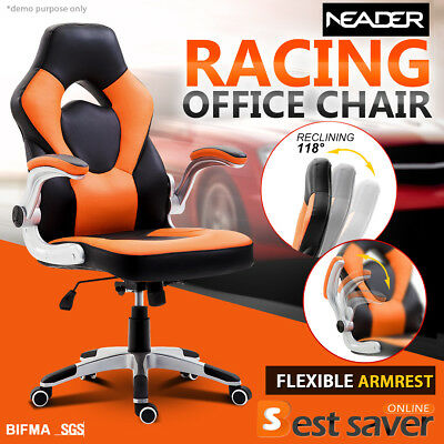 NEADER Racing Gaming Chair Executive Office Chair High-Back Swivel Wheels Orange