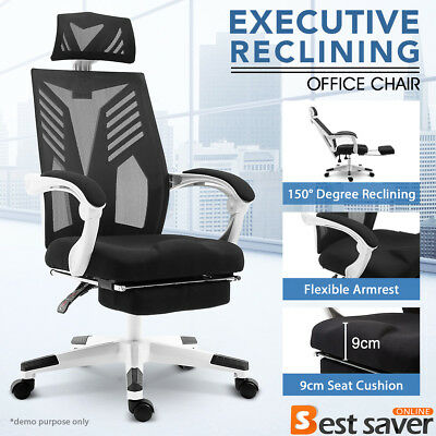 Office Gaming Chair Racing Chair Executive Reclining Computer Chair w/Footrest