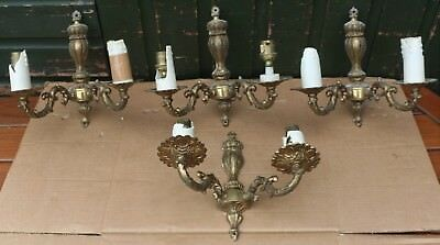 Set Of 4 Matching Gilt Metal 2 Branch Electric Wall Candle Sconce Type Lights