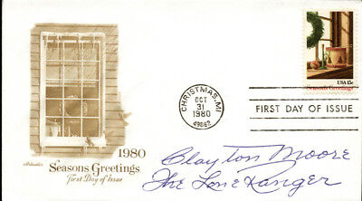 "Clayton ""The Lone Ranger"" Moore - First Day Cover Signed"