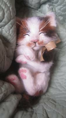 Needle Felted Baby Calico Kitten Cat Doll OOAK By Artist Ronda Koskela