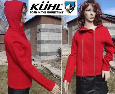 KUHL merino wool hoodie jacket double zipper soft warm machine washable women MD