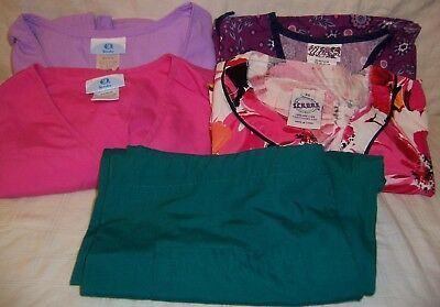 Scrubs, lot of 5 - size extra small - two print & two solid tops, one green pant