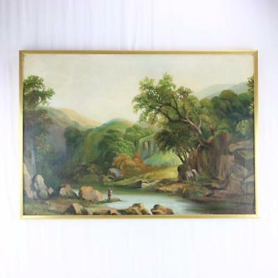 Antique Landscape Oil on Canvas Painting Fisherman in River Gorge Framed Rare