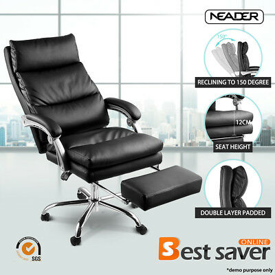 NEADER Executive Chair PU Leather Luxury Reclining Office Chair w/Footrest Black