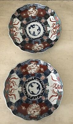 "Antique Pair Of Japanese Imari Porcelain Plates 8.5"" Signed Hand Painted Old"