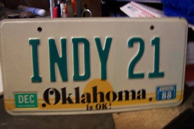 Car  Tag Personalized Indy 21   Oklahoma  Ratrod Chevy. Ford  Bbf Low Rider Oil