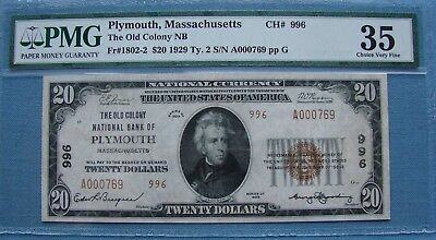 *rare 1929 Plymouth Mass. $20.00 The Old Colony National Bank Note 35 Pmg*