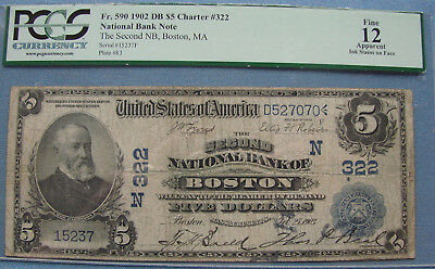 *nice 1902 $5.00 National Bank Note Charter #322 Boston  Mass. 12 Pcgs*